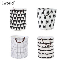 Eworld Zakka Canvas Laundry Basket Foldable Clothes Orangizer Storage Bag Toy Storage Basket Children Room Sundries Bag Batman