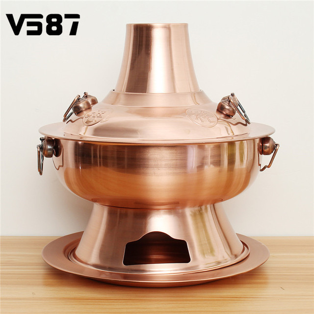 Old Beijing Chinese Hot Pot Large Copper Stainless Steel Traditional Charcoal Heated Soup Steam Kitchen Tools Cookware