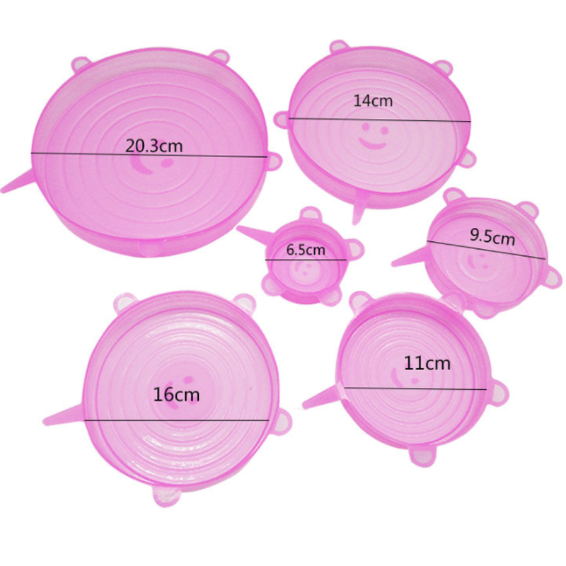 6pcs/1set  Eco-Friendly Silicone Food Cover Suction Lid-bowl Pan Covers Kitchen Cooking Tools  Bowl Storage with Lid