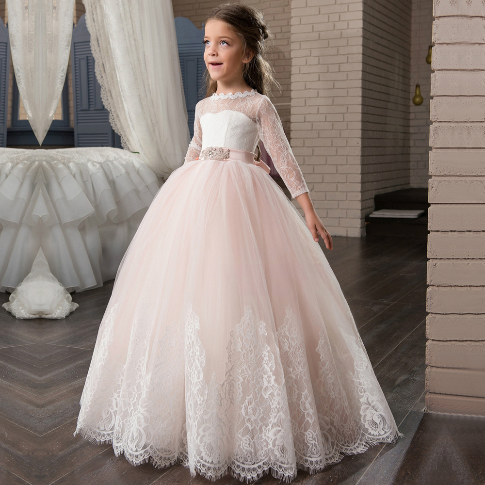 New Arrival Long Sleeve First Communion Dresses Appliques O neck Lace Up Bow Sash Flower Girl