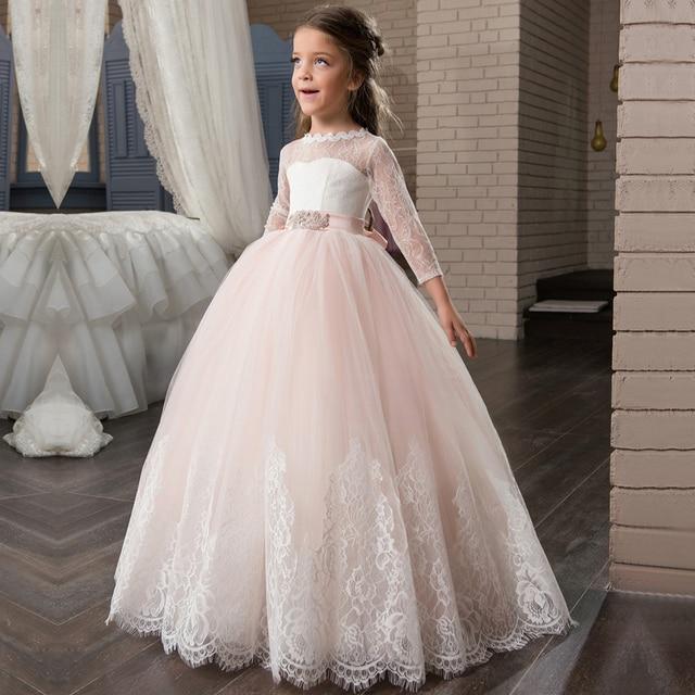 הגעה חדשה ארוך שרוול ראשית הקודש שמלות אפליקציות O-צוואר תחרה עד Bow אבנט פרח ילדה שמלות תפור לפי מידה Vestidos