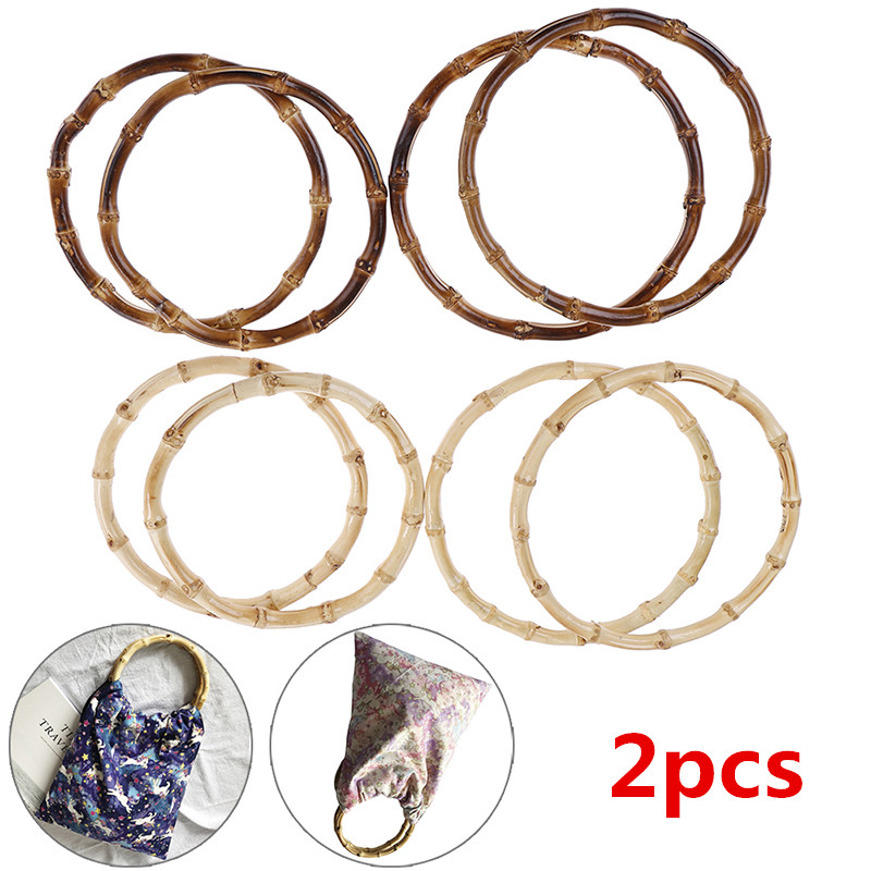 2pcs Round Bamboo Bag Handle For Handbag Handcrafted DIY Bags Accessories 2 Sizes