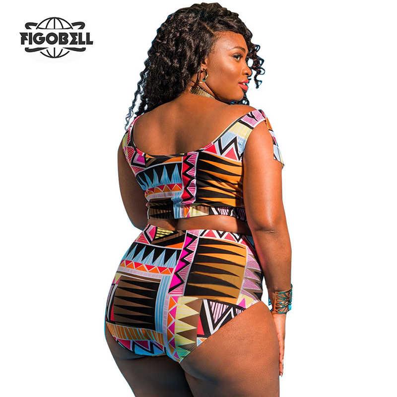 2018 большие размеры, костюмы из двух частей, с принтом, женский сексуальный плюс размер, бразильский купальник, большая высокая талия, длинный рукав, купальник, купальный костюм, 5XL