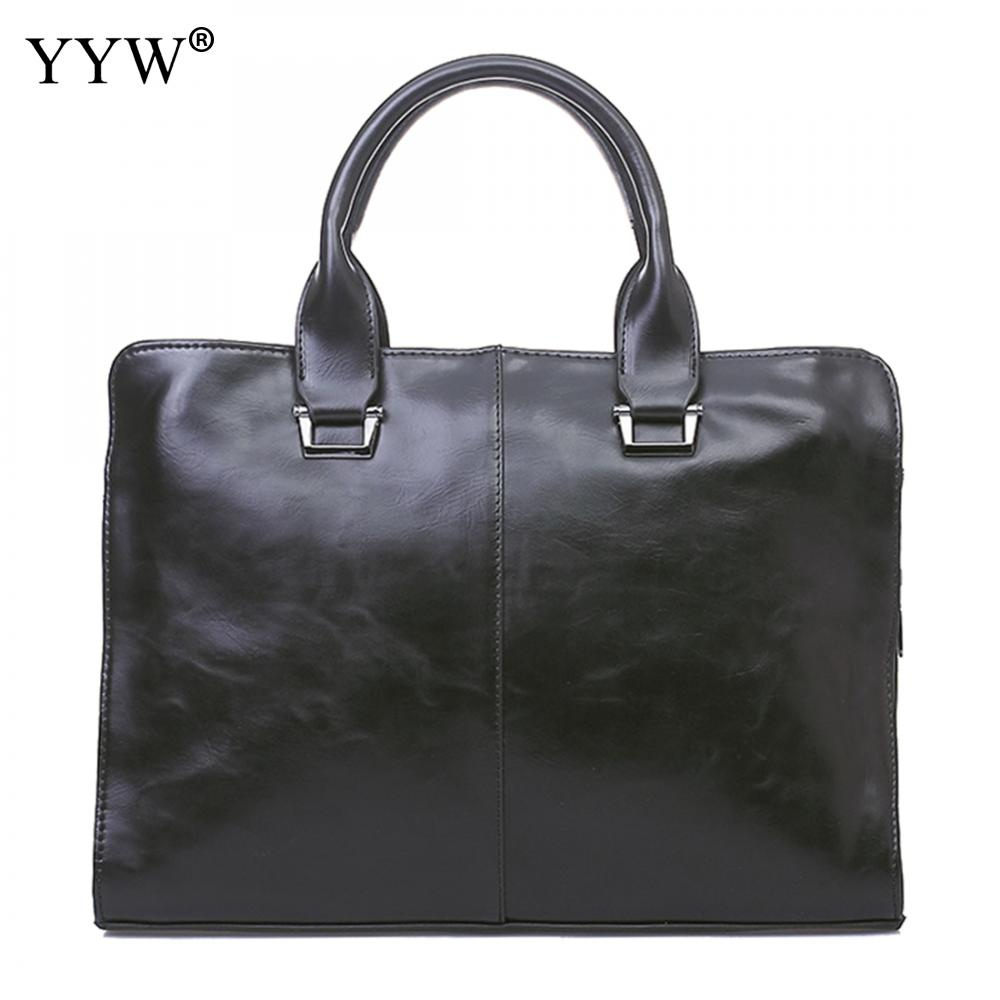 Men'S Executive Briefcase Business Bag Portfolio Top-Handle Laptop Bags For Men Black Pu Leather Handbag A Case For Documents