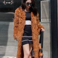 BFFUR מעיל פרווה אמיתי 100% פרוות דביבון אמיתיים, בסגנון ארוך יוקרה אופנה דביבון פרווה מעיל, חורף נשים מעיל הפרווה של הליידי