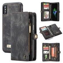 Para o iphone xs carteira caso 2 em 1 zíper de couro destacável magnético 11 slots de cartão dinheiro bolso capa para iphone 11 pro xs max xr