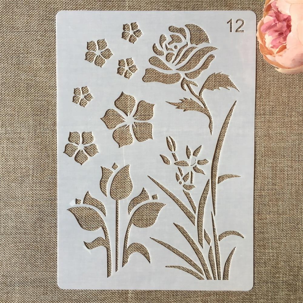 1Pcs 29*21cm Flower Grass Leaves DIY Layering Stencils Painting Scrapbook Coloring Embossing Album Decorative Paper Template