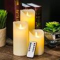 На Батарейках Беспламенного Запаха Слоновой Кости Воск Янтарный Желтый Пламя Свечи с Дистанционным 3 Упак.