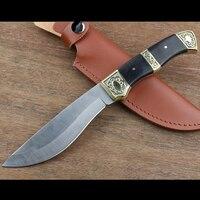 Açık sertlik yüksek taktik bıçak çok aracı bakır kolu + siyah ahşap Sabit siyah Bıçak Kamp Aracı survival avcılık knive