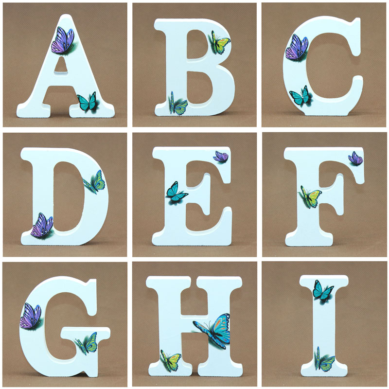 1pcs 10X10cm Wooden Letters Decorative 3D Butterfly Alphabet Word Wood Letter Name Design Art Crafts Hand Made Wedding DIY