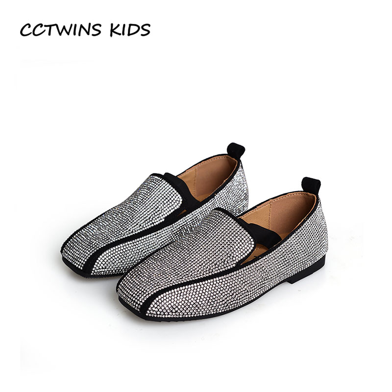 CCTWINS KIDS 2018 Autumn Girl Fashion Party Slip On Shoe Children Rhinestone Loafer Toddler Brand Flat Baby Black GL1948