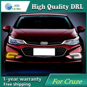 Free shipping !12V 6000k LED DRL Daytime running light case for Chevrolet Cruze 2016 2017 fog lamp frame Fog light Car styling