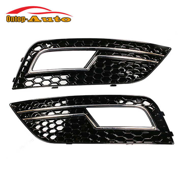 Glossy black+Chrome Honeycomb Front Bumper Fog Lights Cover Grille Part for Audi A4 S4 RS4 B9 2013-2015 цены онлайн