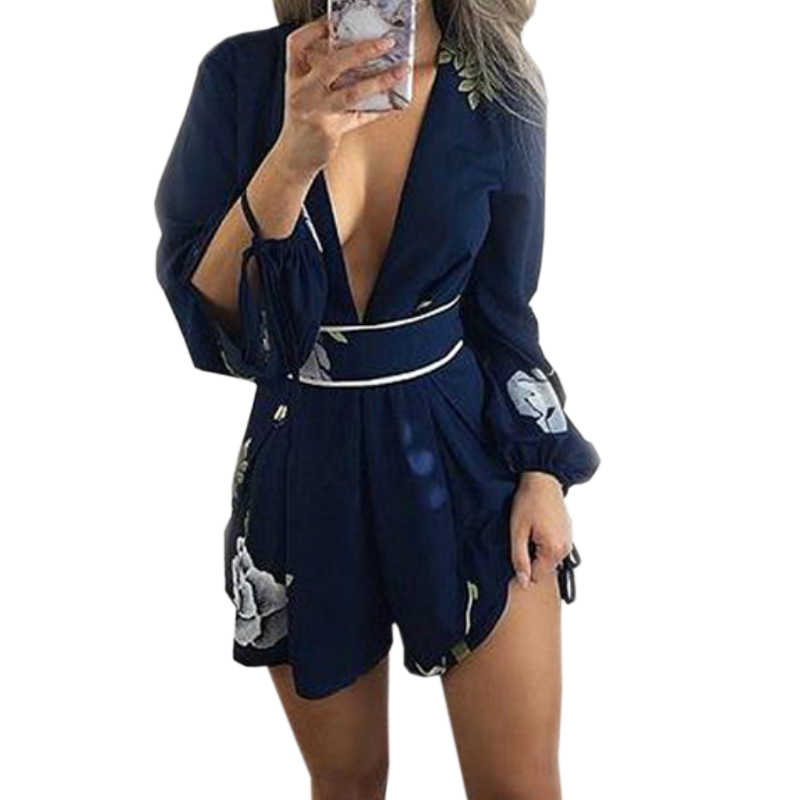 Deep V-neck Rompers Women 2019 Summer Sexy Beach Playsuits Lady Lace Up Backless Floral Printed Overall Femme Bodysuits GV458