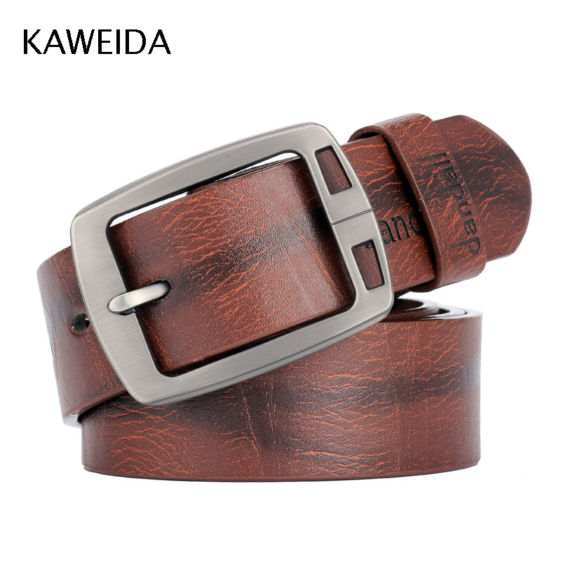 KAW Trending Vintage Men's Genuine Leather Waist Belt Designer Pin Buckle Belts For Jeans Gift For Man Accessories Kemer Cinto