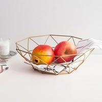 European Kitchen Fruit Basket Fashion Hollow Gold Storage Basket With Two Pieces Of Two Size Basket DQ9142 2