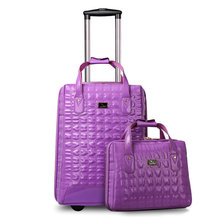 New Women Travel Suitcase PU Leather Travel Bags&Girls Luggage Sets Fixed Casters Trolley Luggage Bag 20″ Rolling Luggage 2pcs
