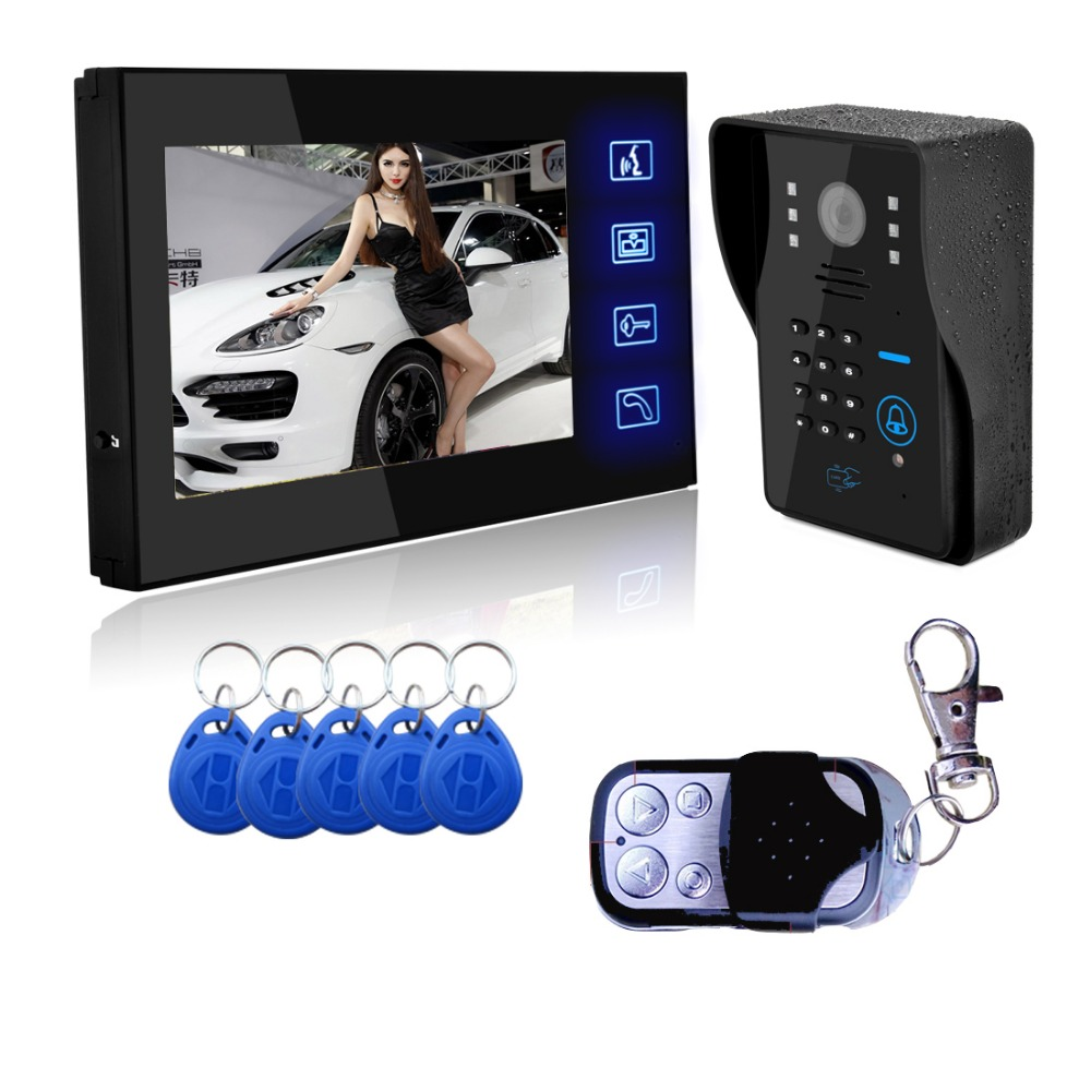 SYSD Wired Touch Key 7 Video Door Phone Intercom System 1 RFID Keypad Code Number Doorbell Camera 1 Monitor touch key 7lcd wired touch key rfid password video door phone doorbell intercom system ir camera with remote control
