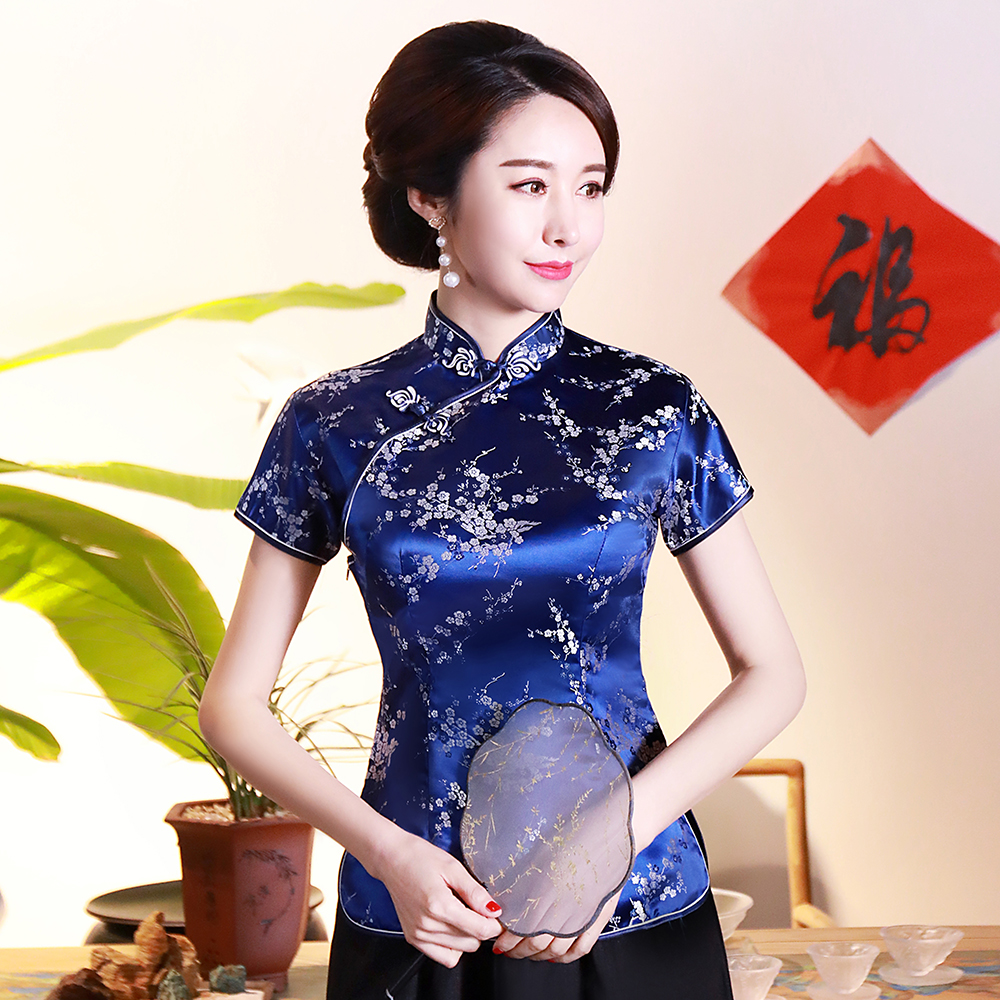 Plus Size 3XL 4XL Mandarin Collar Traditional Shirt Chinese Women Blouse Novelty Stage Performance Clothing Blue Flower Tops