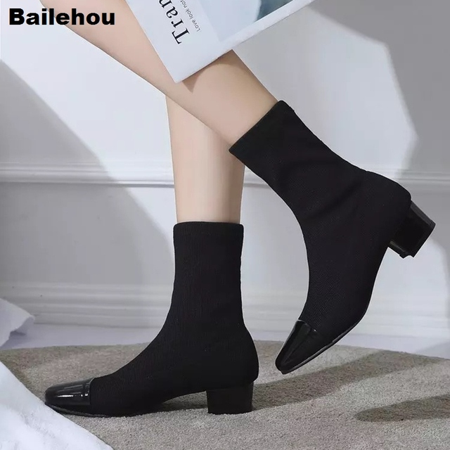 e6174838e6ce3 Women Low Heel Mid-calf Chelsea Boots Female Socks Boots Short Knitting  Ankle Boot Stretch Fabric Slip On Casual Winter Shoe New