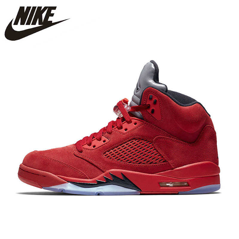 267f6c8628f6da Nike Air Jordan 5 red Suede AJ5 Men s Breathable Basketball Shoes Sports  Sneakers New Arrival Official