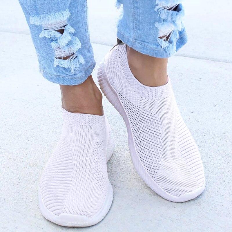 Las mujeres zapatillas de deporte de punto femenino Zapatos vulcanizados Zapatos casuales de las señoras Zapatos planos de zapatillas de malla suave caminar calzado Zapatos Mujer