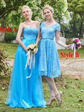Two Styles Blue Bridesmaid Dress 2017 Sweetheart/V Neck Lace Maid Of Honor Plus Size Long/Short Wedding Party Gowns 6201639