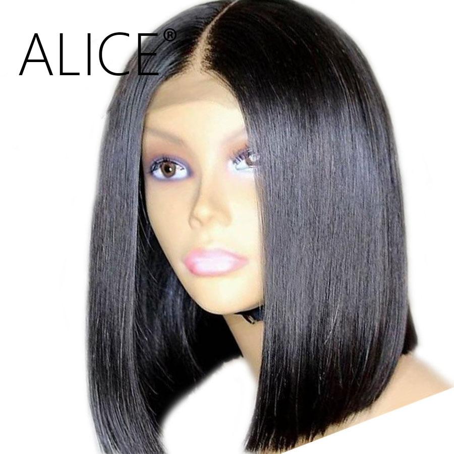 Алиса короткие Боб Синтетические волосы на кружеве парики с ребенком волосы прямые бесклеевого Синтетические волосы на кружеве человеческих волос парики 13x4 Реми бразильские волос парики