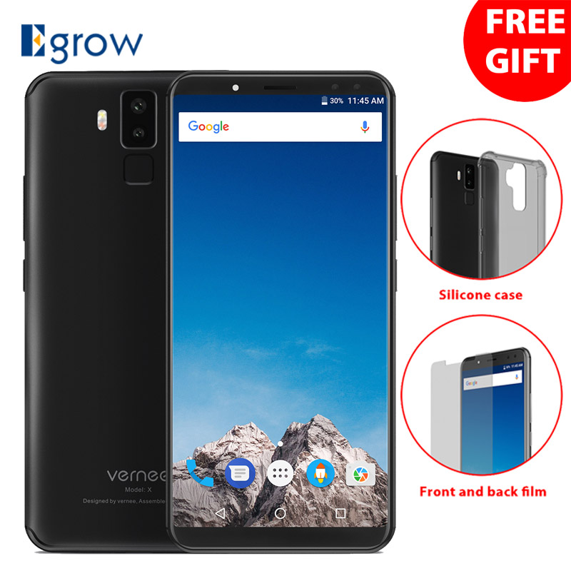 Vernee X1 Android 7.1 Téléphone Mobile 5.99 ''MT6763 Octa Core 6g RAM 64g ROM 6200 mah Quatre cames 9 v 2A Charge Rapide 4g Mobile Téléphone