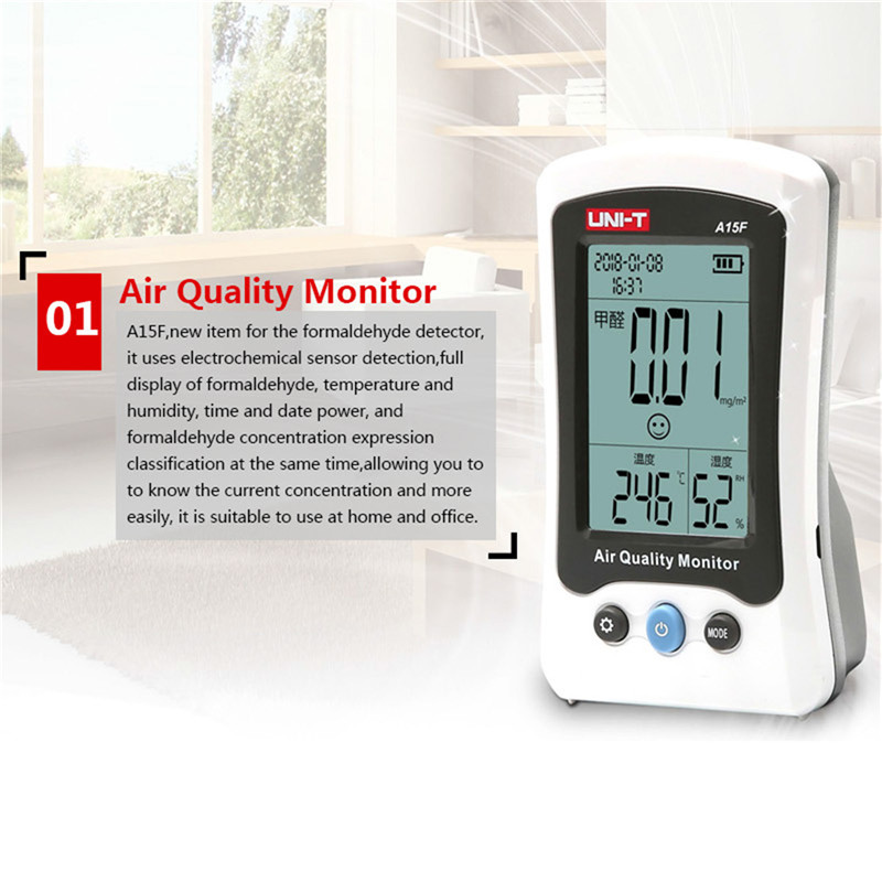 UNI-T A15F Air Quality Monitor Formaldehyde Detector Tester Meter Temperature Humidity Meter Rechargeable HCHO Gas Analyzer free shipping china hcho ch2o formaldehyde monitor environmental with temperature humidity