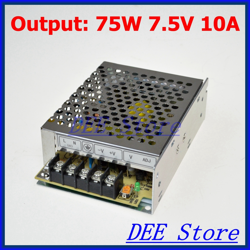 Small Volume Led driver 75W 7.5V 10A Single Output  Adjustable Switching power supply for LED Strip light  AC-DC Converter 1200w 48v adjustable 220v input single output switching power supply for led strip light ac to dc