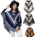 Autumn Winter Women Batwing Knitwear Sweater Tassels Hem Loose Pullover Cloak Poncho Cape Tops Knitted Shawl H9