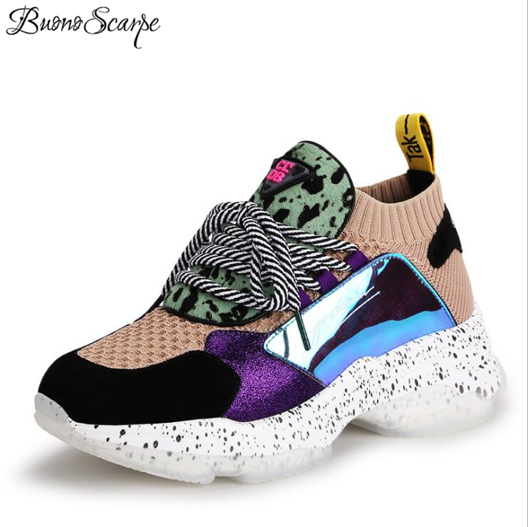 2019 primavera nuevo pelo de caballo de punto zapatillas zapatos de mujer de cuero genuino Casual zapatos de retazos corstied señoras zapatillas-in Zapatos planos de mujer from zapatos    1