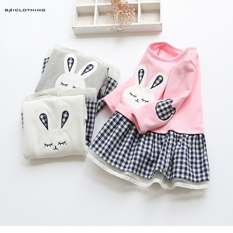 Girls Dress 2017 Spring Casual Style Baby Girl Clothes Long Sleeve Cartoon Embroiderie Bunny Princess Dress for Kids Clothes 2 10yrs girls dress kids princess dress long sleeve baby girl cute palace style blue and white floral embroidery spring 2017 new