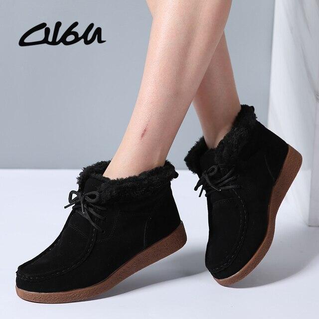 983c24513 O16U 2017 الشتاء النساء حذاء من الجلد النساء جلد الغزال أفخم الدافئة  الأحذية دراجة نارية أحذية