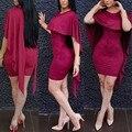 Nuevo diseño de moda 2016 capa de la manga mini vestido atractivo del club de las mujeres vestido elegante vestido de verano 9071