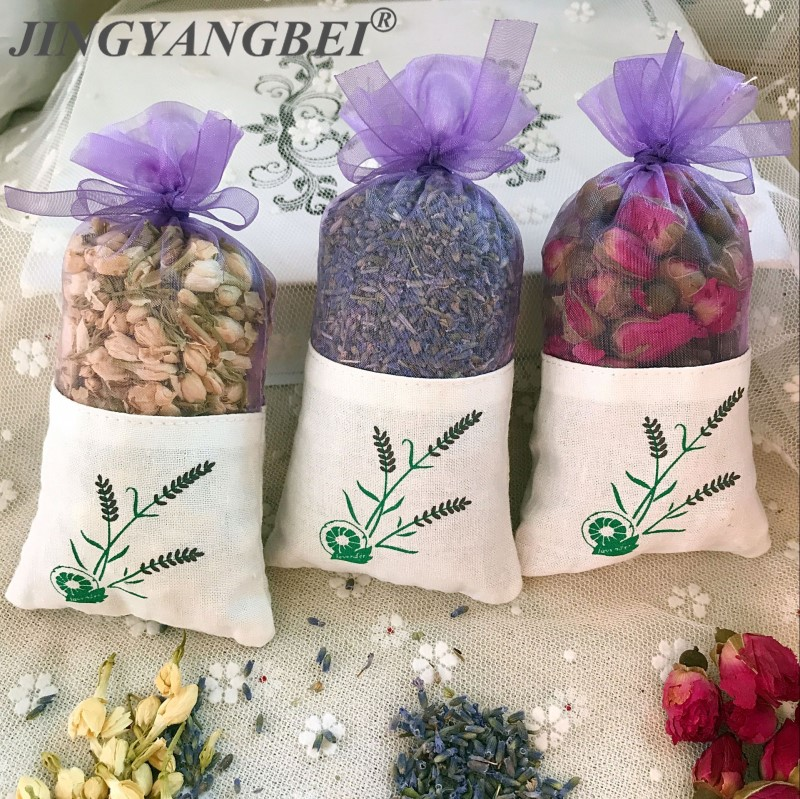 Natural Rose flowers Jasmine Lavender Bud Dried Flower Sachet bag Aromatherapy wardrobe desiccant sachet car room Air Refreshing(China)