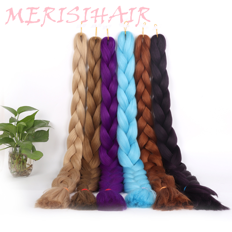 Hair Braids Merisi Hair Synthetic Kanekalon Jumbo Braiding Hair 82 Inch Pure 29 Colors Available Crochet Braid In Hair Extensions For Women To Enjoy High Reputation In The International Market
