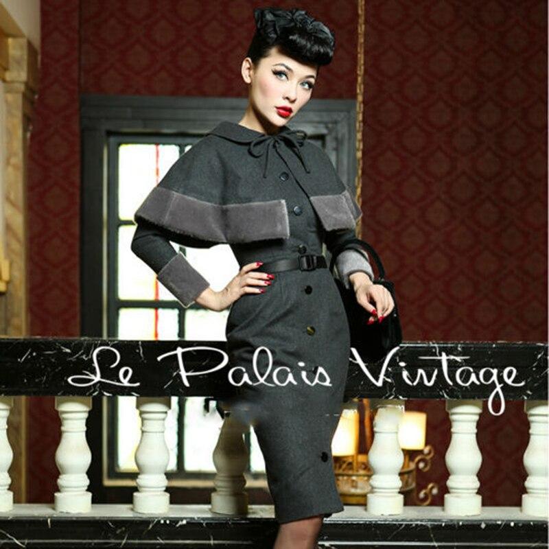 LIVRAISON GRATUITE Le Palais Cru élégant rétro style Hepburn de laine Babydoll Robe Cape manteau costume