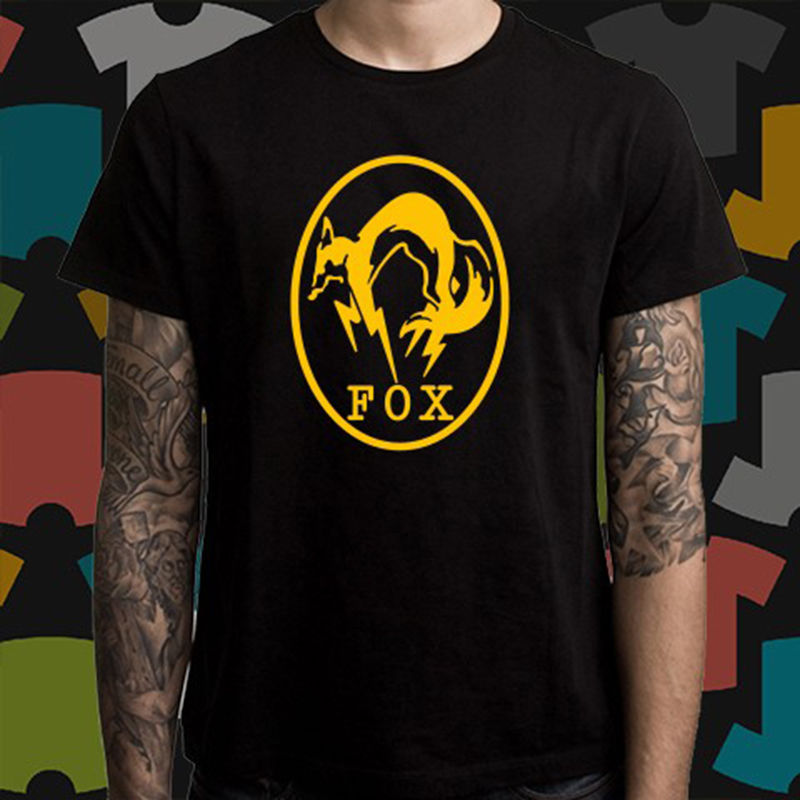 New FOXHOUND FOX HOUND Metal Gear Solid Logo Men 39 s Black T Shirt Size S To 3XL Men T Shirt Tops Short Sleeve Cotton Fitness in T Shirts from Men 39 s Clothing