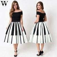 WOMAIL Europe Women's Piano Keys Printed Skirt High Waist Thin Skirt Fancy Pattern Skirt solid color skirt N6