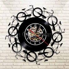 1 pieza de reloj de vinilo Retro para bicicleta, moderno, Vintage, bicicleta LP, reloj artístico para pared, luz LED deportiva, decoración para sala de estar, reloj creativo