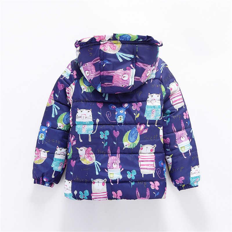 Новые милые зимние детские куртки и пальто парки с граффити для девочек теплая верхняя одежда с капюшоном для маленьких девочек Детская куртка с рисунком животных