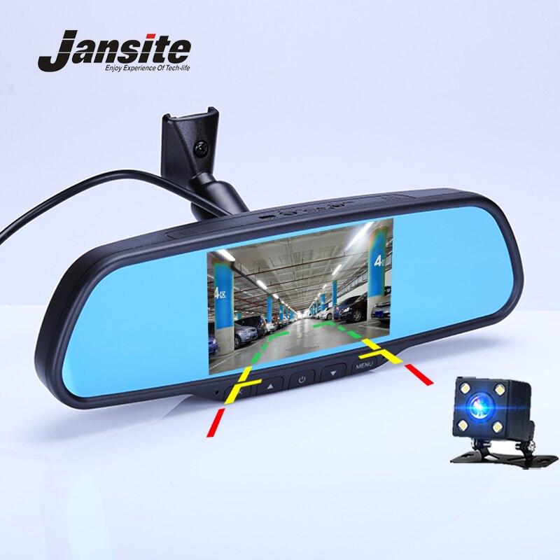 Espelho Retrovisor Do Carro Dvr Traço Cam de 4.5 polegada Jansite Detector de Câmera Do Carro de Lente Dupla Gravador de Vídeo FHD 1080 p Espelho suporte
