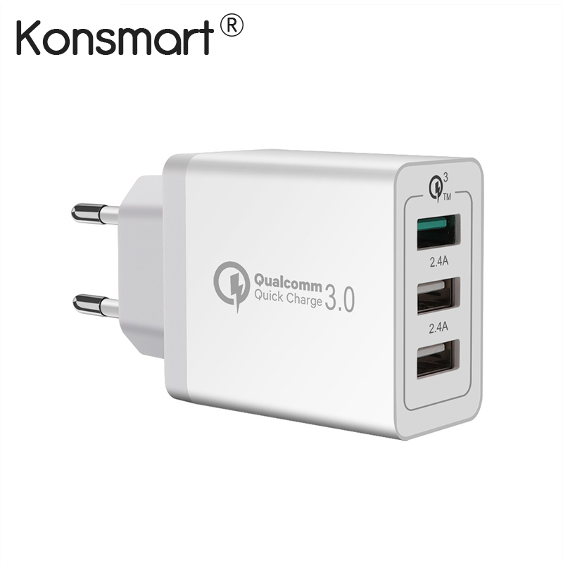 KONSMART Quick Charge 3.0 USB Power Adapter for iPhone iPad Samsung Huawei Xiaomi Mobile Phone Fast Charging Euro Travel Charger