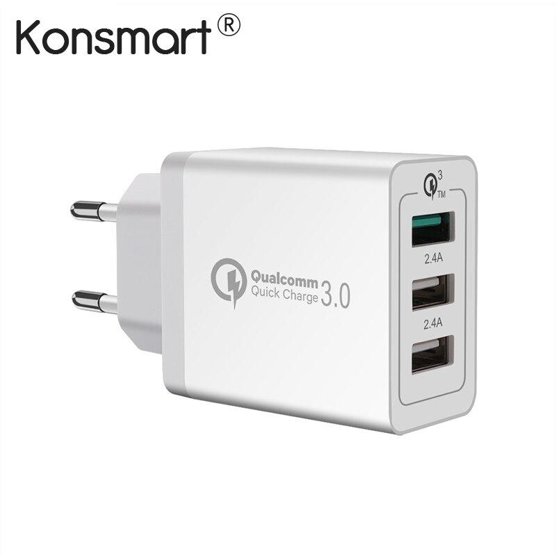 KONSMART carga rápida 3,0 adaptador de corriente USB para el iPad del iPhone Samsung Huawei Xiaomi carga rápida Euro cargador de viaje