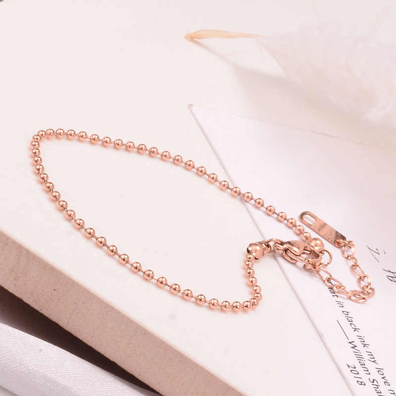 Bohemia Silver Rose Gold Color Bracelet On The Leg No Fade Stainless Steel Beads Chains Anklet For Woman Girl With 5cm Extending