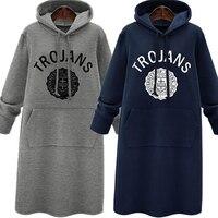 Design Long Women Dress Winter Sweatshirt Sweater Top Hoodie Fashion New Hot Hat Solid Pullover Free
