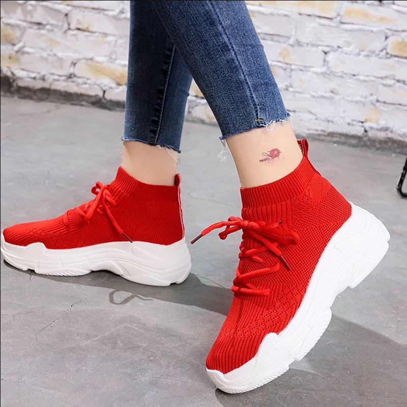 New Chic Shoes Autumn Mesh Breathable Stretch Fabric Outdoor Women Shoes Thick Bottom Designer Red Knit Socks Woman Sneakers