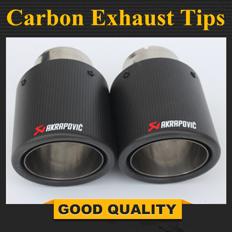 2 Pcs 63mm / 101mm Carbon fiber + stainless steel universal Auto akrapovic exhaust tip tailtip end pipe for bmw vw golf2 Pcs 63mm / 101mm Carbon fiber + stainless steel universal Auto akrapovic exhaust tip tailtip end pipe for bmw vw golf